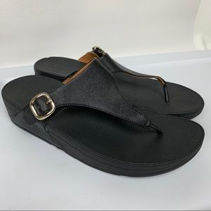 FITFLOP Sz 9 Black Leather Thong Sandals